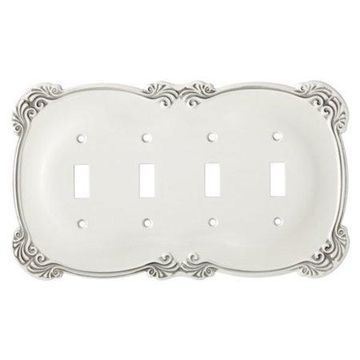 Franklin Brass Arboresque Quad Switch Wall Plate in White Antique