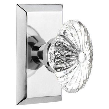 Double Studio Plate With Oval Fluted Crystal Knob, Bright Chrome