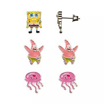 Nickelodeon Spongebob Squarepants, Patrick Star & Jellyfish Stud Earring Pack