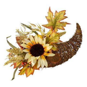 "12"" Fall Harvest Sunflower & Pumpkin Cornucopia Decoration By Northlight in Orange | Michaels"