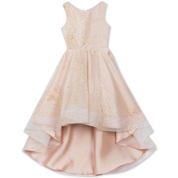 Big Girls Glitter-Mesh High-Low Dress