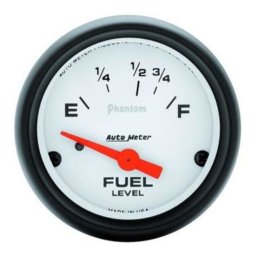 AutoMeter 5718 Phantom Electric Fuel Level Gauge; 2-1/16 in.; White Dial Face; Fluorescent Red Pointer; White Incandescent Lighting; Electric Air-Core; 16 Ohms Empty /158 Ohms Full;