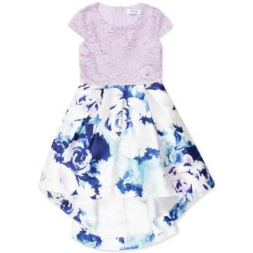 Speechless Little Girls Lace & Floral-Print High-Low Dress