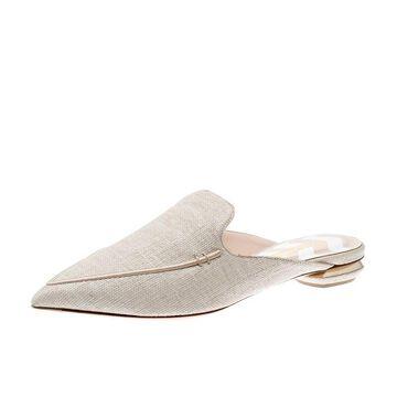 Nicholas Kirkwood Beige Raffia Beya Pointed Toe Flats Size 41