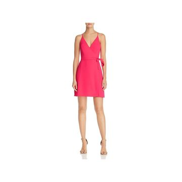 Amanda Uprichard Womens Clarita Wrap Dress Mini Side-Tie