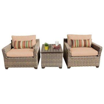 TK Classics Monterey 3-Piece Outdoor Wicker Sofa Set, Wheat