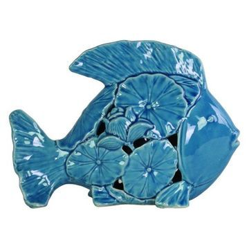 Ceramic Fish Figurine, Gloss Turquoise
