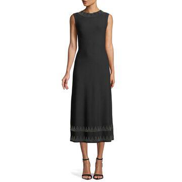 Studded High-Neck Sleeveless A-Line Crepe Midi Dress