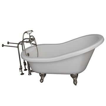 Barclay 60-in White Acrylic Oval Back Center Drain Clawfoot Bathtub with Faucet Included