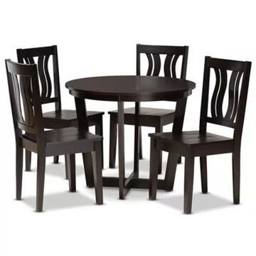 Baxton Studio Eleanor 5-Piece Dining Set in Dark Brown