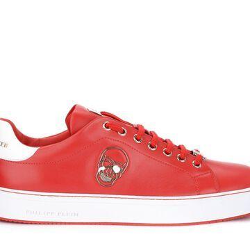 Philipp Plein Skull Model Lo-top Sneaker In Red Leather
