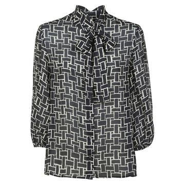 Aspesi Tie-neck Pattern Printed Shirt