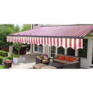 ALEKO Half Cassette Retractable Patio Deck Awning 13x10 ft Red/White Striped (Red White Stripes)