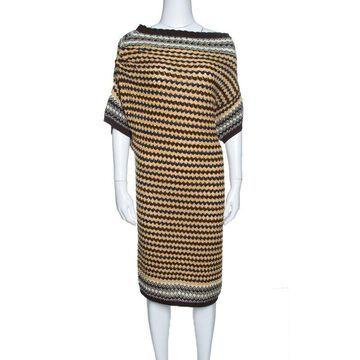 Missoni Multicolor Patterened Knit Off Shoulder Dress M