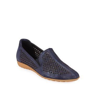 Brisia Metallic Leather Loafer Flats, Navy