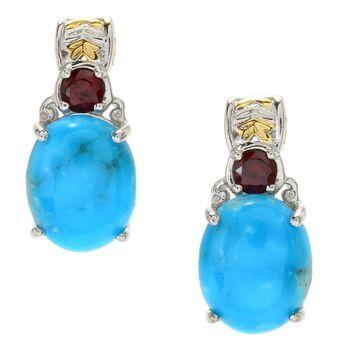 Michael Valitutti Palladium Silver Kaolin Turquoise & Mozambique Garnet Stud Earrings