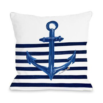 One Bella Casa 73693PL16 16 x 16 in. Anchor Half Stripe Pillow by Timree - White & Gold