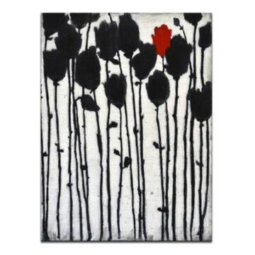 """Ready2HangArt, 'Conviction' Abstract Floral Canvas Wall Art, 40x30"""""""