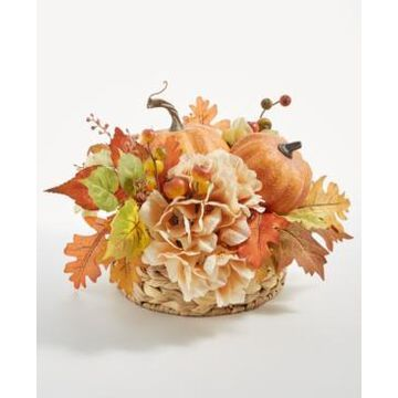 Martha Stewart Collection Pumpkin and Leaves Harvest Centerpiece, Created for Macy's
