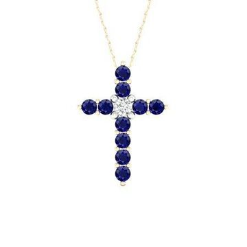 Imperial Gemstone 10K Yellow Gold Blue Sapphire 1/20 CT TW Diamond Cross Necklace