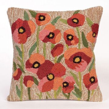 Liora Manne Frontporch Poppies Indoor Outdoor Throw Pillow, Natural, 18X18