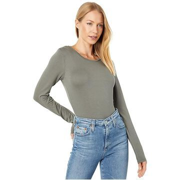 Majestic Filatures Soft Touch Flat-Edge Long Sleeve Crew Neck Top