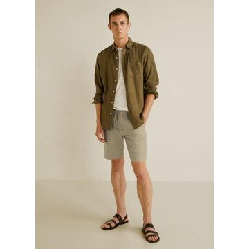 MANGO MAN - Drawstring cotton linen bermuda short beige - 34 - Men