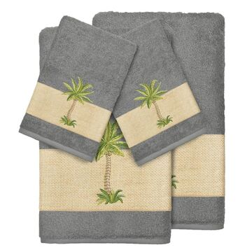 Authentic Hotel and Spa Turkish Cotton Palm Tree Embroidered Charcoal Grey 4-piece Towel Set