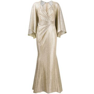 draped metallic mermaid dress