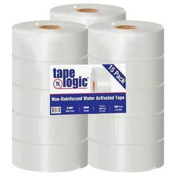 Tape Logic #6000 Non Reinforced Water Activated Tape, 2 x 600, White, 15/Case (T26000W) | Quill