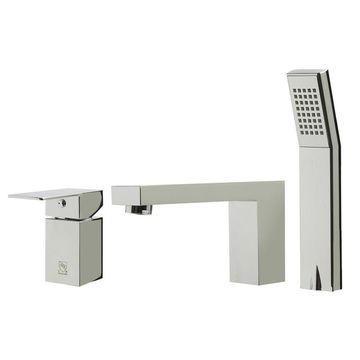 ALFI brand ALFI brand AB2322-PC Polished Chrome Deck Mounted Tub Filler and Square Hand Held Shower Head