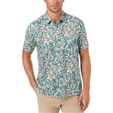 Tasso Elba Mens Floral Button Up Shirt