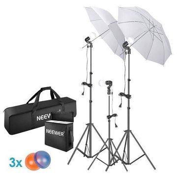 ''Neewer 5500K Photo Studio Continuous Lighting Umbrellas Kit for Portrait Photography, Studio and Video Shooting, Includes: Umbrella, 15W LED Bulb, 83-inch Light Stand, 33-inch Mini Tripod, Gel Filters''