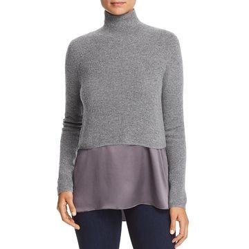 Elie Tahari Womens Casper Long Sleeves Cropped Sweater