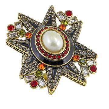 Heidi Daus Elegant Emblem Crystal and Enamel Ring