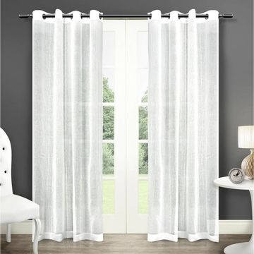 ATI Home Sabrina Sheer Window Curtain Panel Pair with Grommet Top