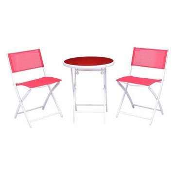 Costway 3 PCS Folding Bistro Table Chairs Set Garden Patio Furniture R