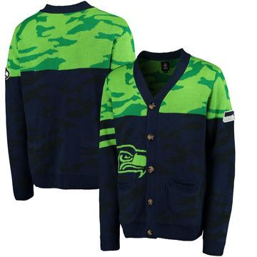 Seattle Seahawks Klew Camouflage Cardigan - College Navy