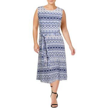 Charter Club Womens Sleeveless Printed Midi Dress