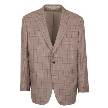 Brioni Men Brown Cashmere Orange Check Parlamento Sportscoat US 50 R RTL$6250 - 50 R