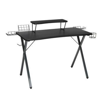 """55"""" Essentials Collection Gaming Computer Desk with Monitor Shelf X Base - Gray/Black - OFM"""