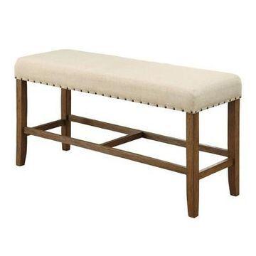 Rustic Counter Height Bench Antique Wood - Benzara