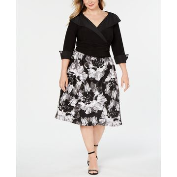 Plus Size Portrait-Collar A-Line Dress