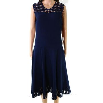 Akris Navy Blue Womens Size 12 Laser Cut Fit Flare Sheath Dress