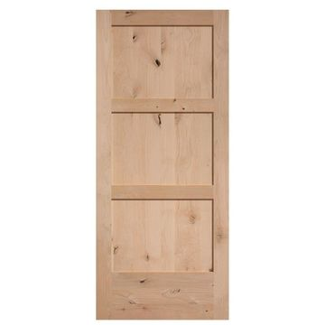 Masonite Unfinished 3-Panel Wood Knotty Alder Barn Door (Common: 36-in x 84-in; Actual: 36-in x 84-in)