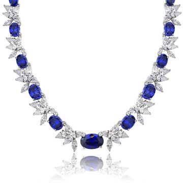 Icz Stonez Sterling Silver 59 3/4ct TGW Blue and White Cubic Zirconia Oval Flower Necklace - Silver/Blue (Silver Blue CZ)