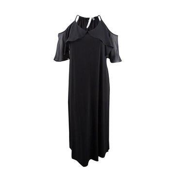 NY Collection Women's Plus Size Cold-Shoulder Maxi Dress - Noir Mix Combo
