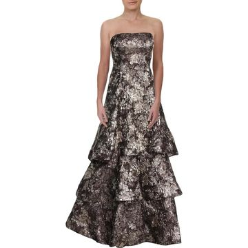 Aidan Mattox Womens Evening Dress Metallic Embroidered