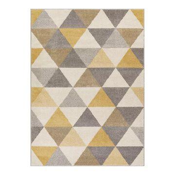Well Woven Mystic Alvin Mid-Century Modern Geometric Area Rug, Yellow, 5X7 Ft
