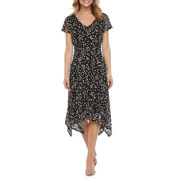 Ronni Nicole Short Sleeve Lace Dot Midi Fit & Flare Dress